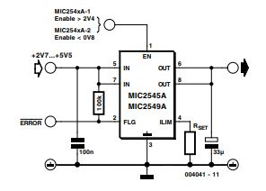 Switch ICs with Adjustable Current Limiting Schematic 1