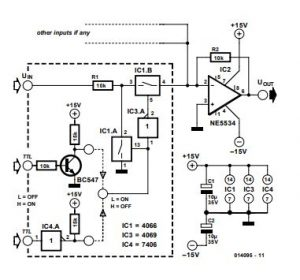 Switching Amplifier for Analogue Signals Schematic Diagram