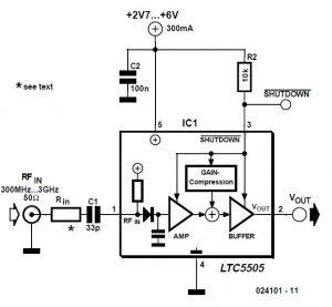 300-3000 MHz RF Detector Schematic Circuit Diagram