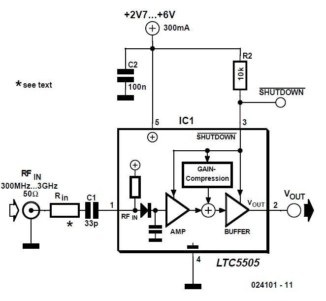 300-3000 MHz RF Detector Schematic Circuit Diagram