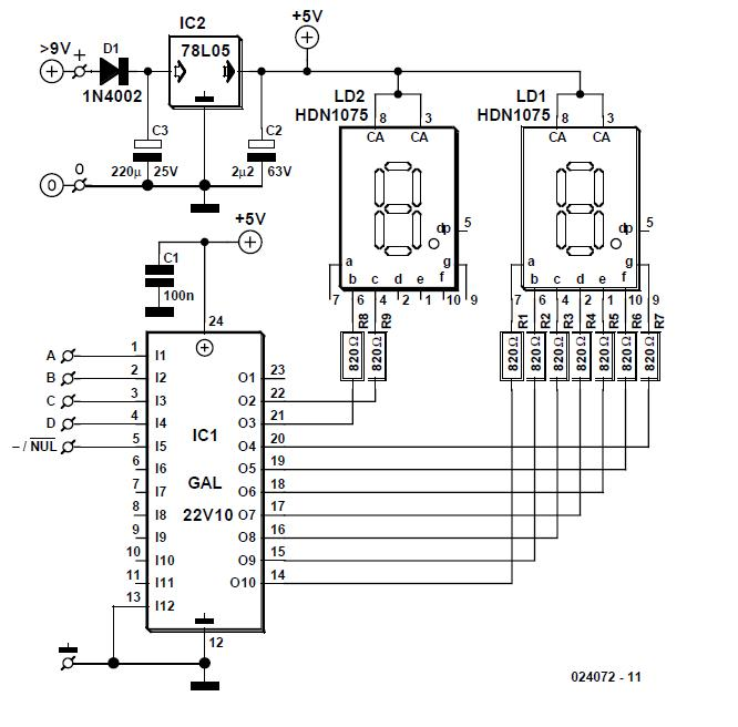 4-Bit Decimal Display Schematic Circuit Diagram 2