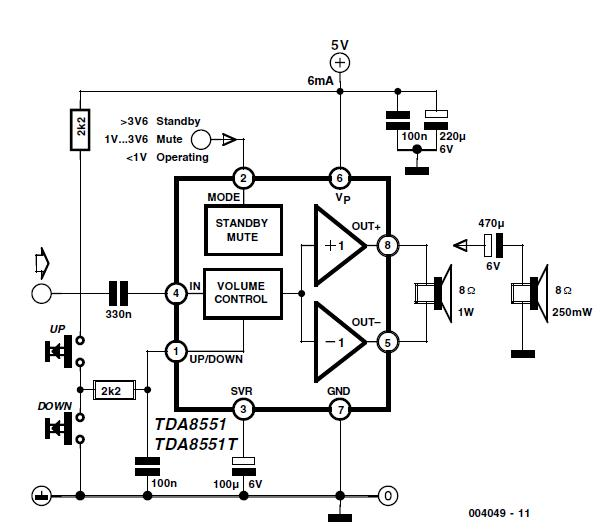 af amplifier with up  down volume setting schematic circuit