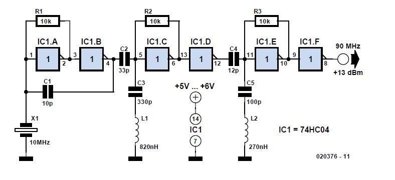 CMOS Crystal Frequency Multiplier Schematic Circuit Diagram 1