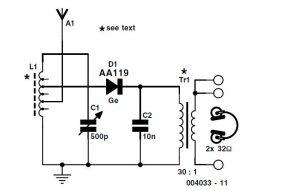 Diode Radio for Low Impedance Headphones Schematic Circuit Diagram