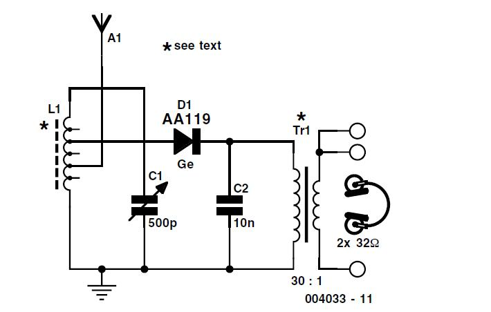diode radio for low impedance headphones schematic circuit diagram