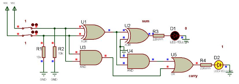 How calculator works, Schematic Circuit Diagram