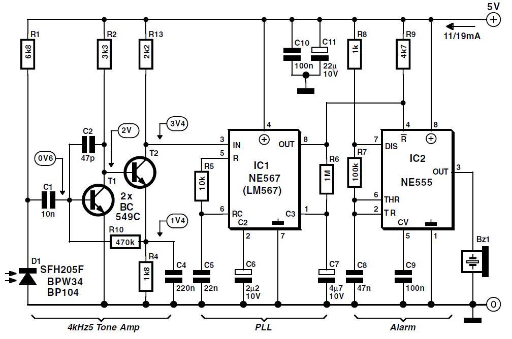 Infra-Red Light Barrier Schematic Circuit Diagram 2