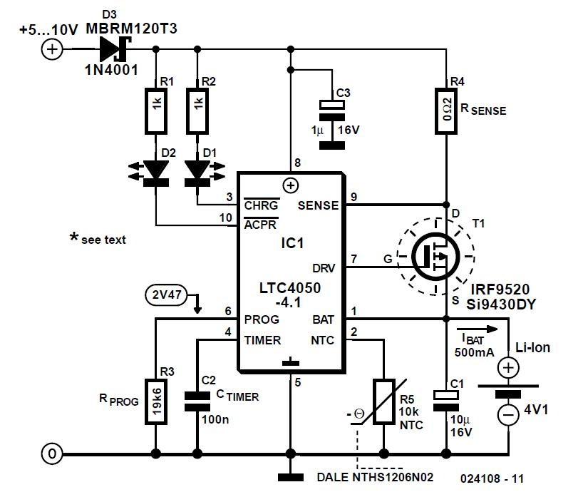 Lithium-Ion Charger Schematic Circuit Diagram