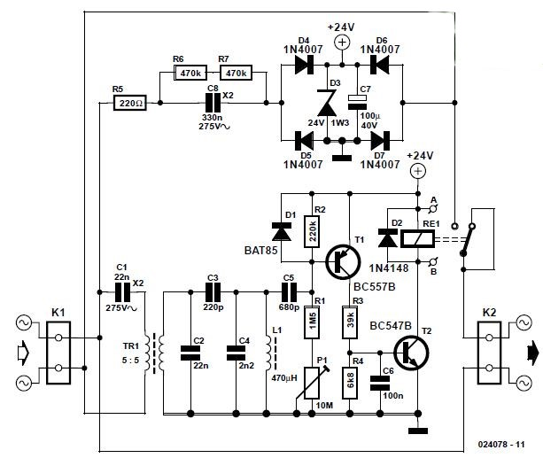 Mains Remote Switch Schematic Circuit Diagram 2