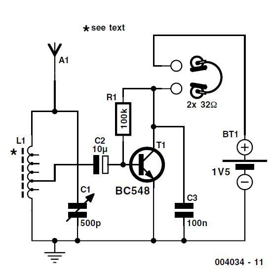 One Transistor Radio Schematic Circuit Diagram