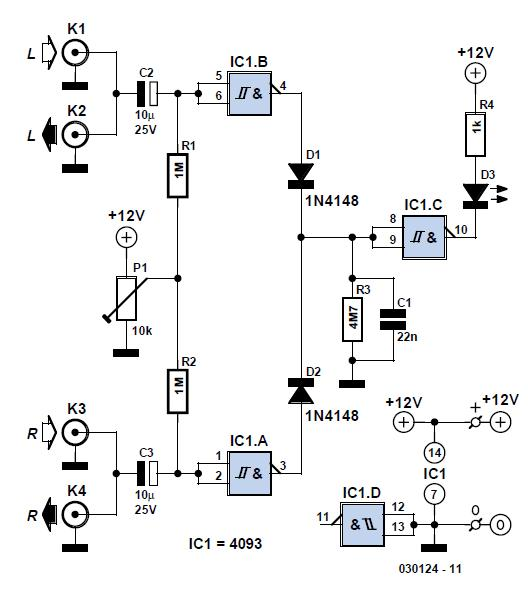 Simple Audio Peak Detector Schematic Circuit Diagram