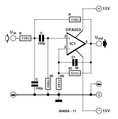 Single-Opamp 10-MHz Bandpass Filter Schematic Circuit Diagram