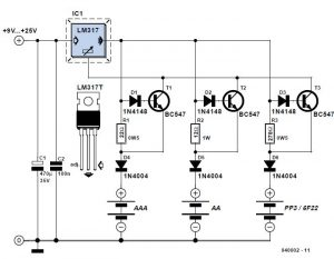 Switchless NiCd NiMH Charger Schematic Circuit Diagram