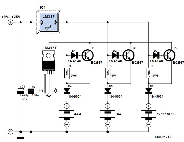 Switchless NiCd/NiMH Charger Schematic Circuit Diagram