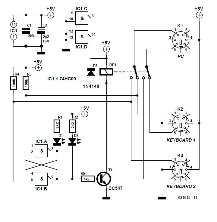 Two Keyboards on one PC Schematic Circuit Diagram 2
