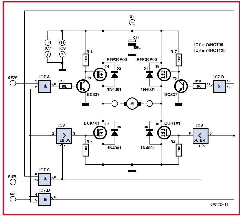 10-A Power Stage for DC Motor Schematic Circuit Diagram