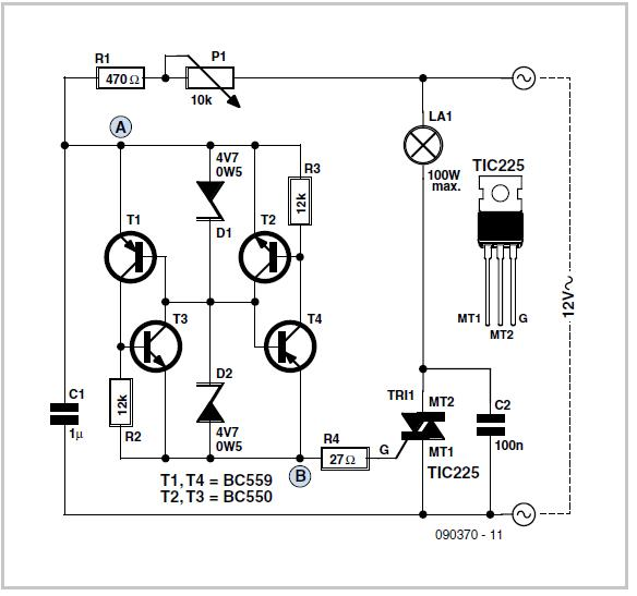 12 V AC Dimmer Schematic Circuit Diagram