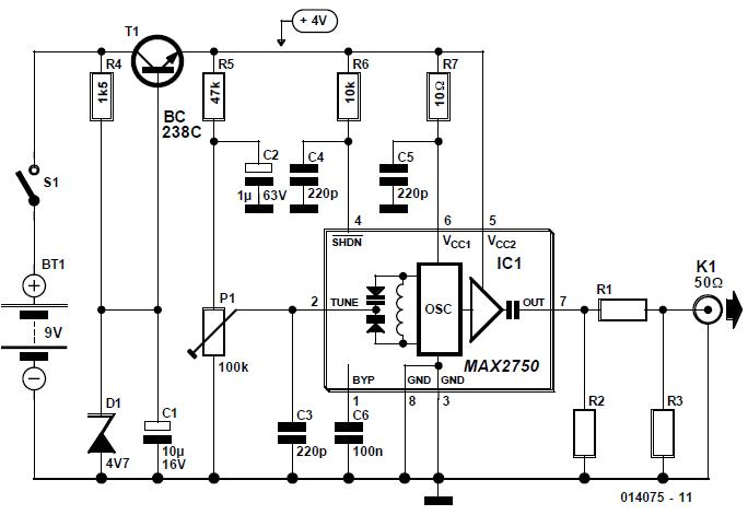 2.5-GHz Signal Source Schematic Circuit Diagram