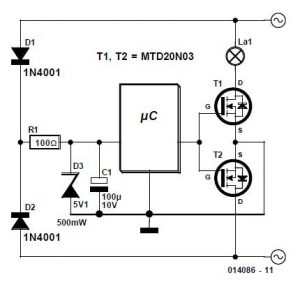 AC Controller using MOSFETs Schematic Circuit Diagram