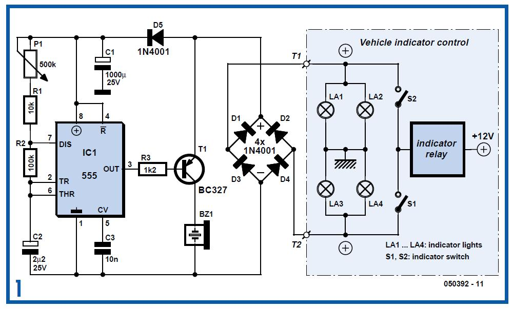 Audible Flasher Warning Schematic Circuit Diagram
