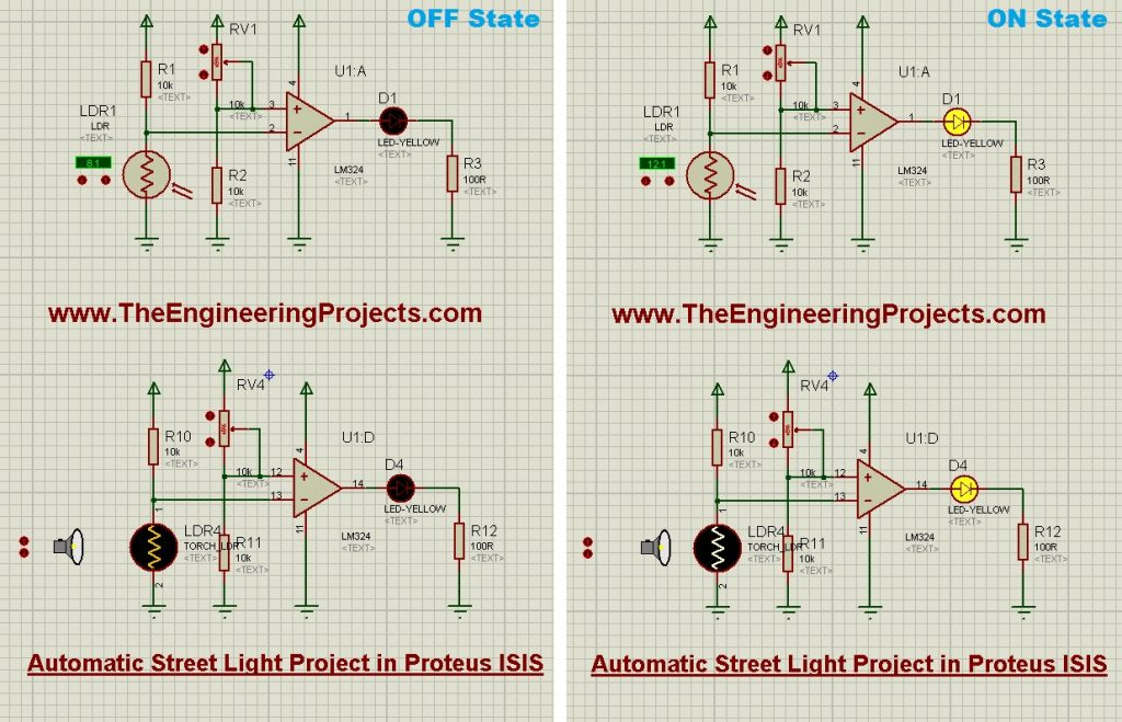 Automatic Street Light Project in Proteus Schematic Circuit Diagram