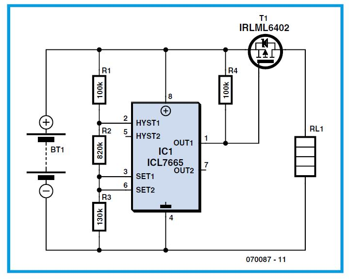BATDeep Discharge Protection for Rechargeable Cells Schematic Circuit Diagram