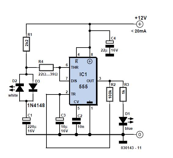 Two-LED Voltage Indicator Schematic Circuit Diagram