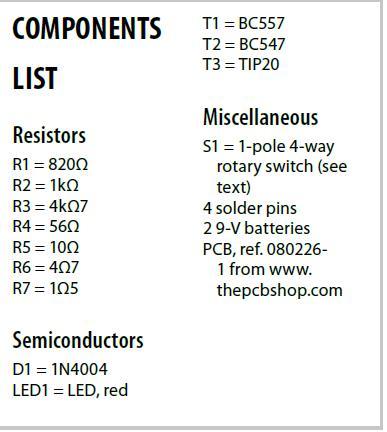 Cigarette-lighter Battery Charger Schematic Circuit Diagram Components List