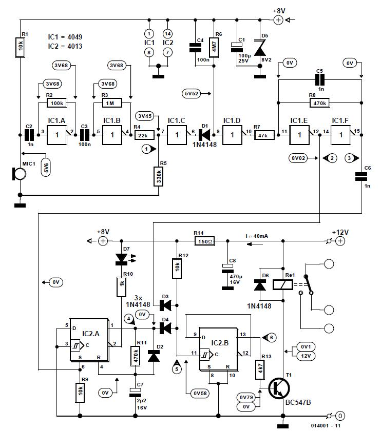 Clap Activated Switch Schematic Circuit Diagram