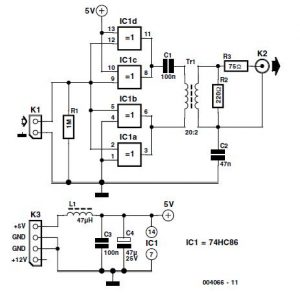 Coaxial S Over PDIF Output Schematic Circuit Diagram