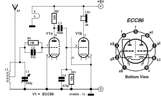ECC86 Valve Radio Schematic Circuit Diagram