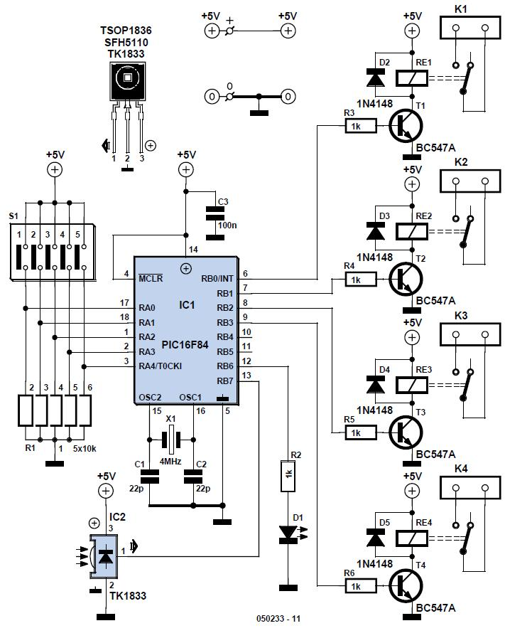On/off Infrared Remote Control Schematic Circuit Diagram