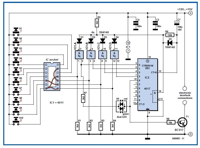 Hard-Wired Code Lock Schematic Circuit Diagram