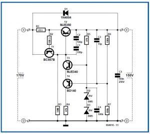 High-voltage Regulator Schematic Circuit Diagram