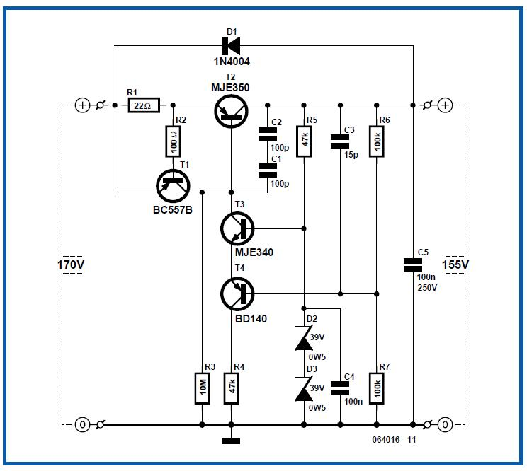 High-voltage Regulator Schematic Circuit Diagram