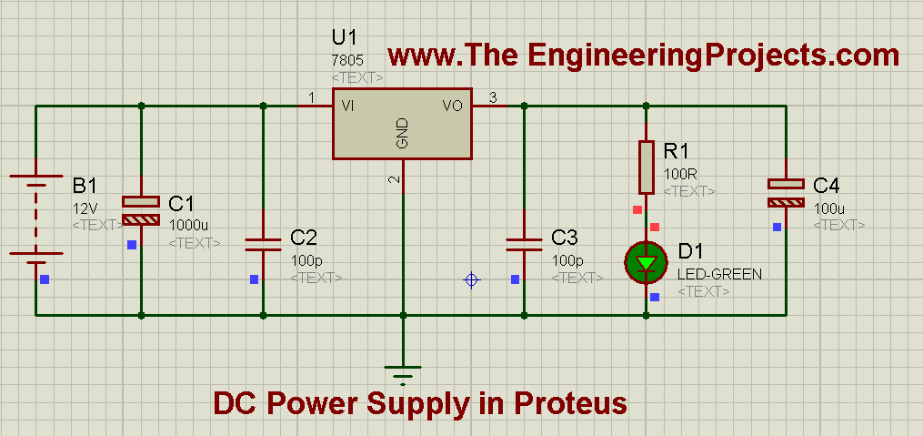 How to Design a 5V Power Supply in Proteus Schematic Circuit Diagram