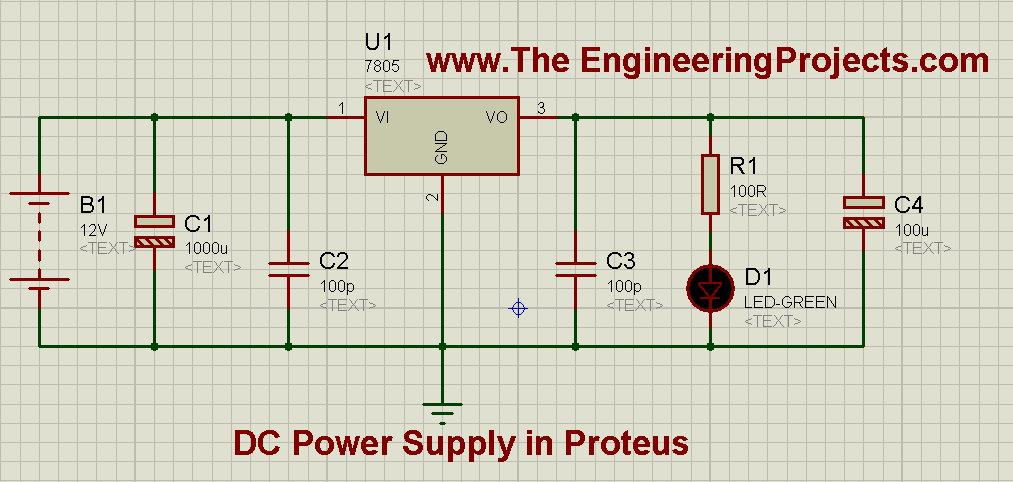 How to Design a 5V Power Supply in Proteus Schematic Circuit Diagram 3