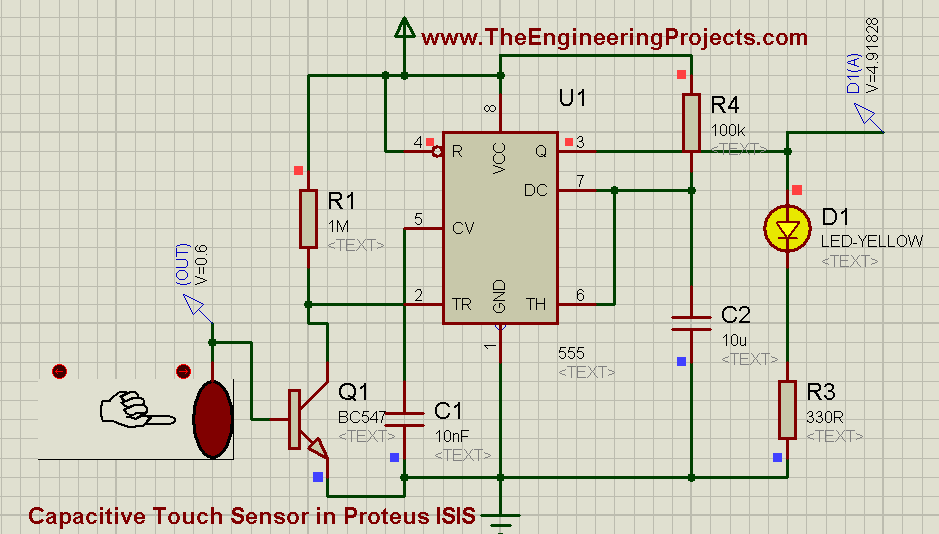 How to use Capacitive Touch Sensor in Proteus Schematic Circuit Diagram