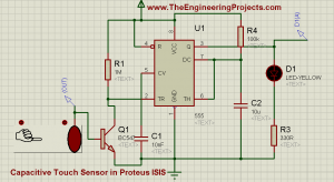 How to use Capacitive Touch Sensor in Proteus Schematic Circuit Diagram 3