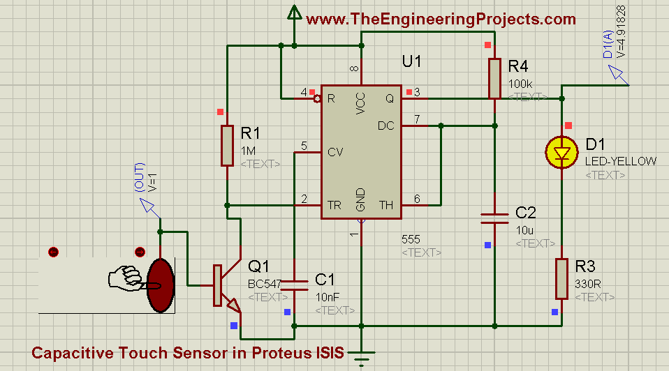 How to use Capacitive Touch Sensor in Proteus Schematic Circuit Diagram 5