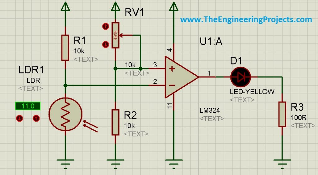 How to use LDR Sensor in Proteus Schematic Circuit Diagram 5
