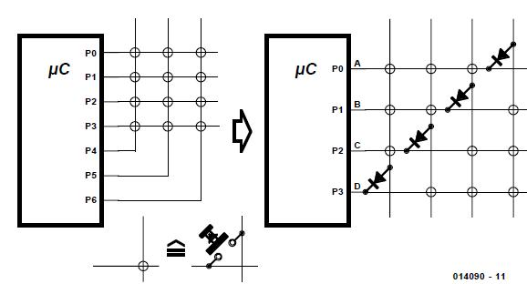 Key Scanning with a Small Number of Connections Schematic Circuit Diagram