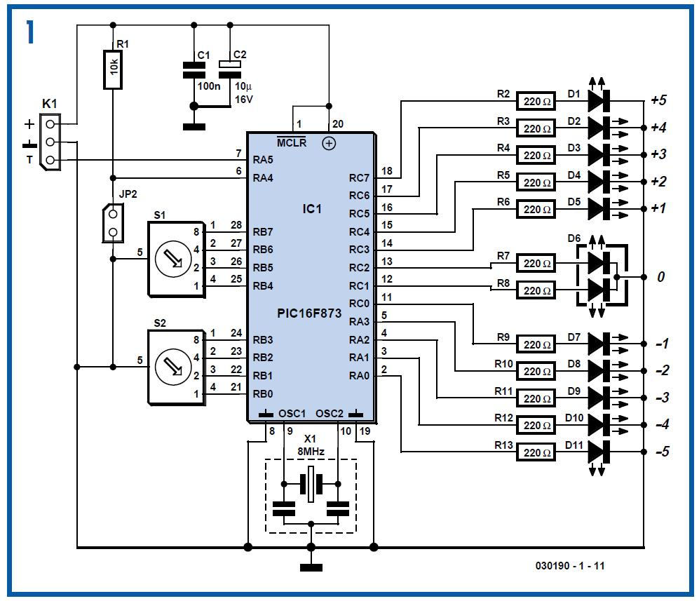LED Thermometer Schematic Circuit Diagram 1