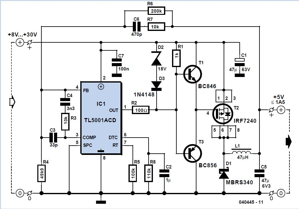 Low-cost Step-down Converter Schematic Circuit Diagram