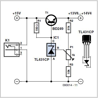 Low-drop Series Regulator using a TL431 Schematic Circuit Diagram