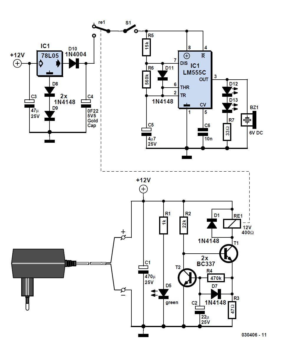 mains failure alarm schematic circuit diagram