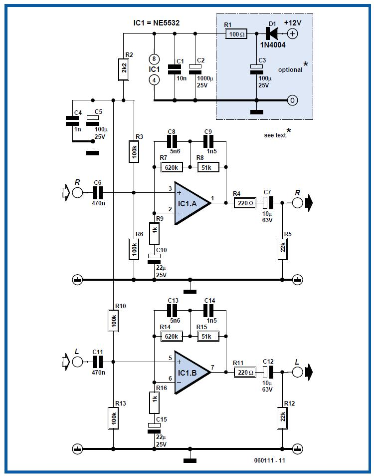 Multimedia RIAA Preamplifier Schematic Circuit Diagram