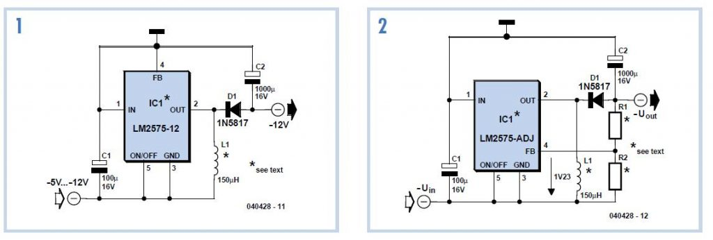 Negative-Output Switching Regulator Schematic Circuit Diagram