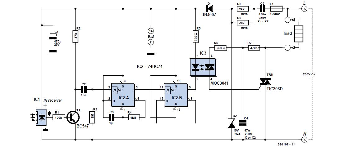 on  off infrared remote control schematic circuit diagram