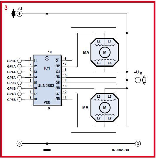 PIC12C508 Stepper Motor Controller Schematic Circuit Diagram